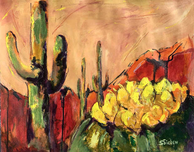 Daily Painters Abstract Sonoran Splender Desert Painting Arizona Artist Sharon Sieben