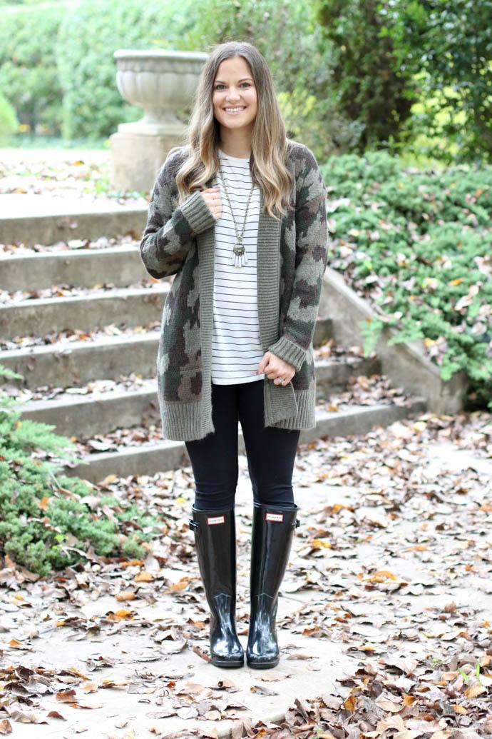 camo cardigan, hunter boots, fall outfit, fall fashion 2017, girl(ish), amanda sumner, mom style