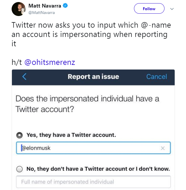 Twitter now asks you to input which Twitter handle is impersonating when reporting it