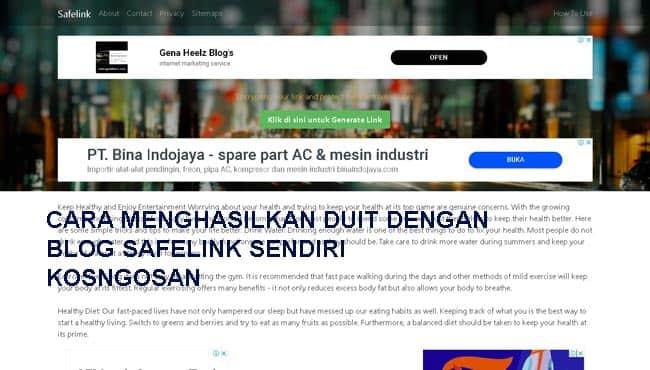 cara menghasilkan uang blog safelink