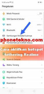 Cara mengaktifkan hotspot pribadi tethering Realme C1