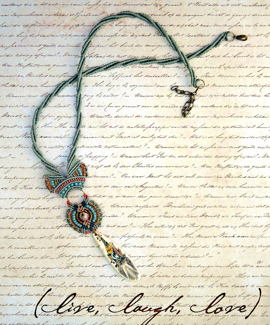 Wizard necklace in micro macrame by Sherri Stokey of Knot Just Macrame.