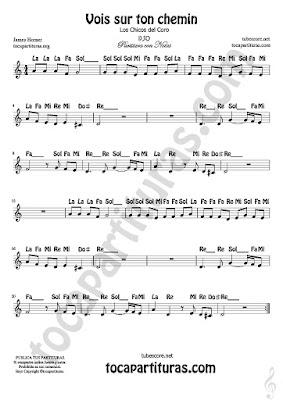 7 Vois sur ton chemin Partitura Fácil con Notas de Los Chicos del Coro