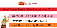 West Bengal Postal Circle Recruitment 2018 – 5778 Gramin Dak Sevak
