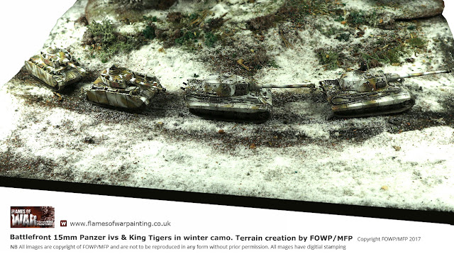 Battlefront 15mm IV's and King Tigers in Winter Camo. Painting and modeling by FOWP