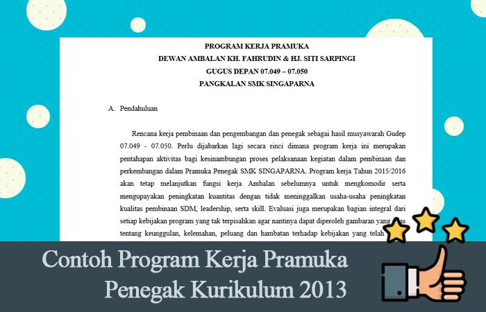 Contoh Program Kerja Pramuka Penegak Kurikulum 2013