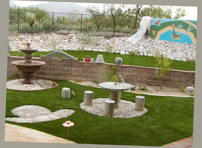 Arizona Backyard Rock Stone Design Landscape Fountain Picnic Table Landscaping Ideas For Backyard Patio Fantastic Pic