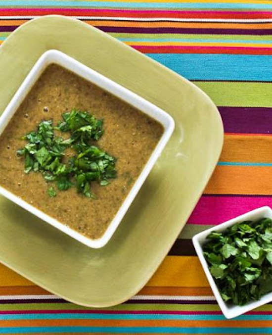 Chipotle and Black-Eyed Pea Soup with Double Cilantro  from KalynsKitchen.com.