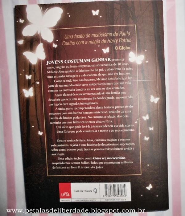 Contracapa do livro A Fada, Carolina Munhóz, Fantasy - Casa da Palavra, sinopse, resumo