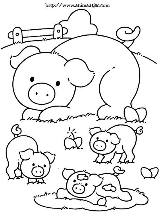 Tranh tô màu mẹ con lợn