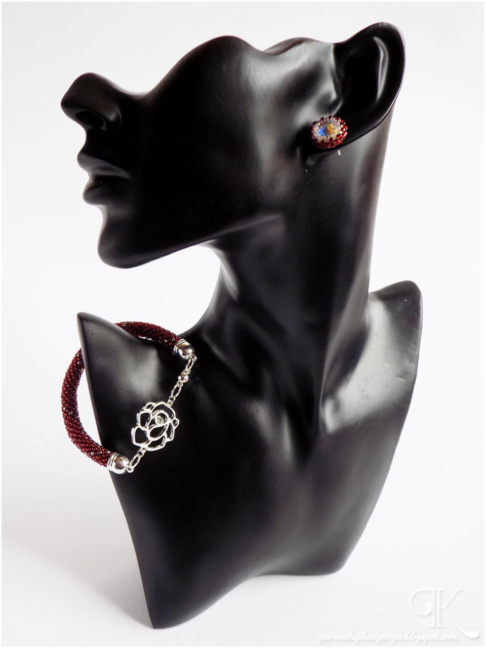 toho, beads, koraliki, kryształki, rivoli, Swarovski, biżuteria, ukośnik, sznur szydełkowo-koralikowy, kolczyki, bransoletka,