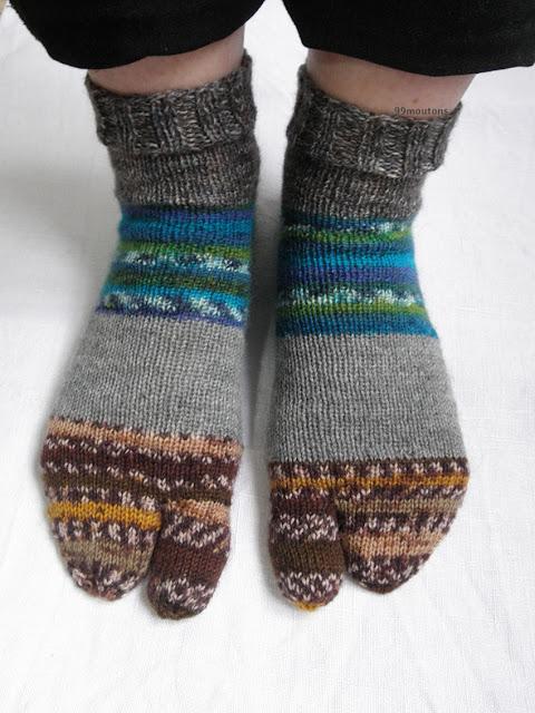 chaussettes tricotées style tabi japonais