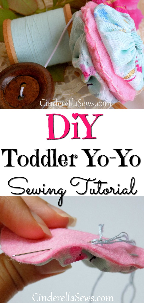 This DIY Toddler toy gift is the perfect beginner hand-sewing tutorial. Make a simple stuffed felt disc embellished with sewn yo-yos! #sewing #crafts #beginnersewing #handsewing #embroidery #diygifts #yoyo