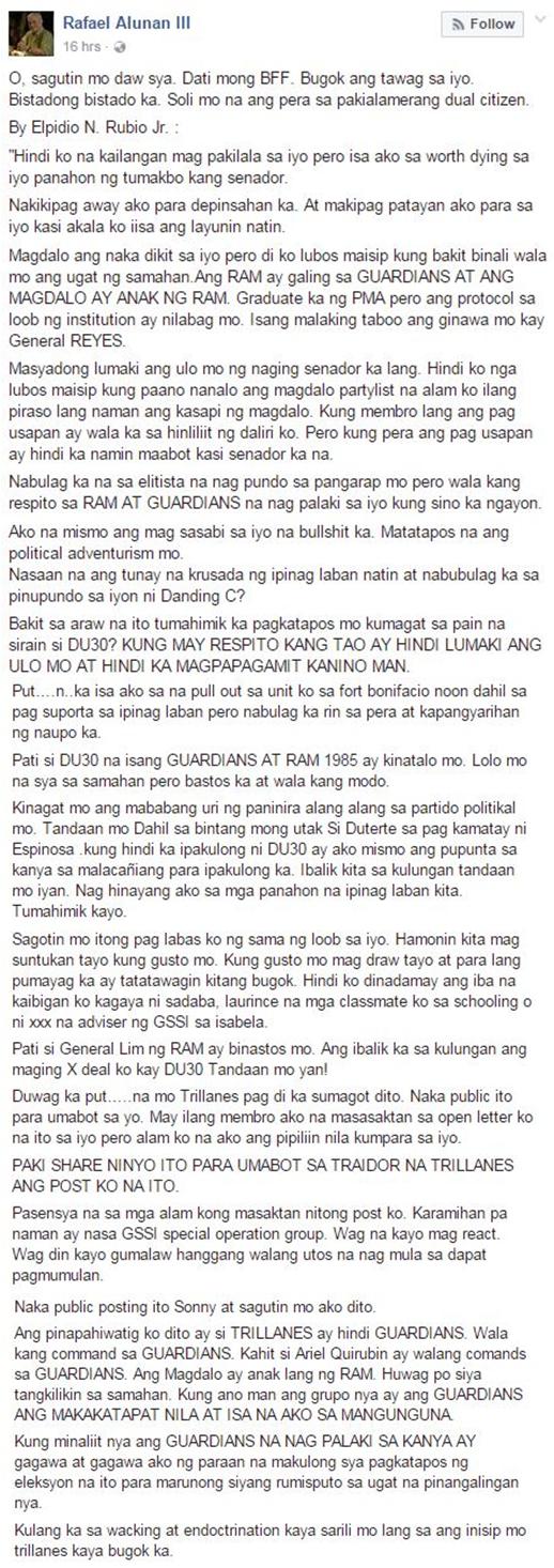 Open Letter to Trillanes Goes Viral: 'Sagutin Mo Itong Paglabas Ko Ng Sama Ng Loob Sa Iyo. Hamunin Kita Magsuntukan Tayo Kung Gusto Mo!'