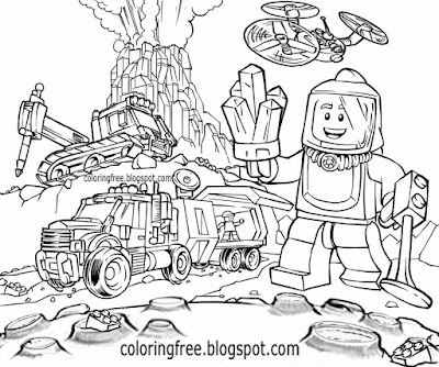 Clipart legoland people printable minifigure Lego city coloring pictures for kids moon space mining