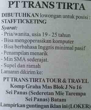 Lowongan Kerja Batam Trans Tirta Tour & Travel