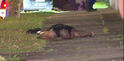 "Image of Pasquale ""Tim"" Barbaro's dead body, face-down in a foot path in Sydney, Australia."