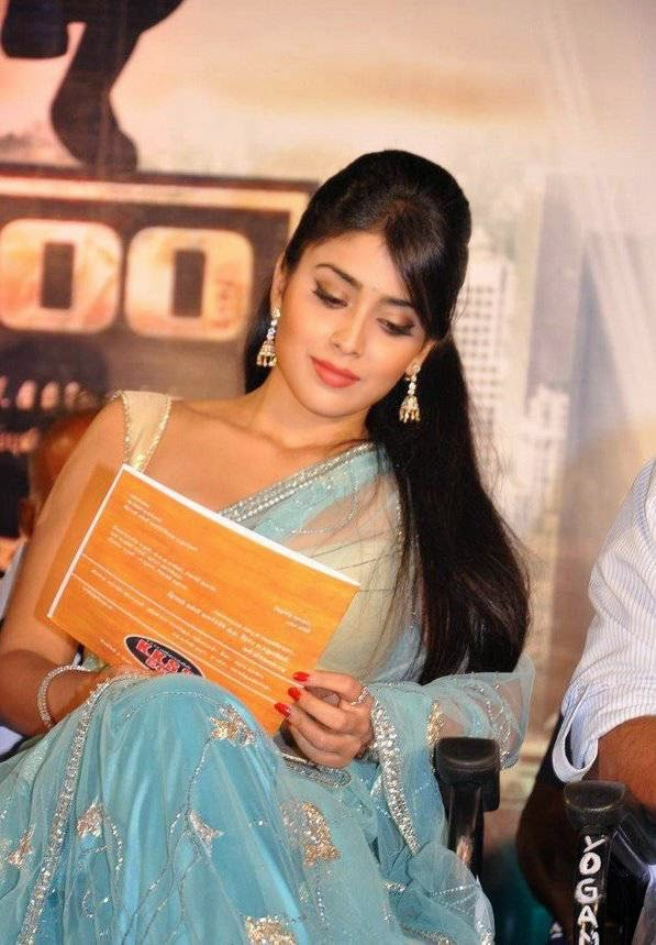 , Shriya Saran HD Photos in Sexy Blouse & Blue Saree