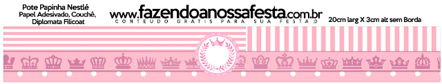 Etiquetas de Corona Rosada para imprimir gratis.