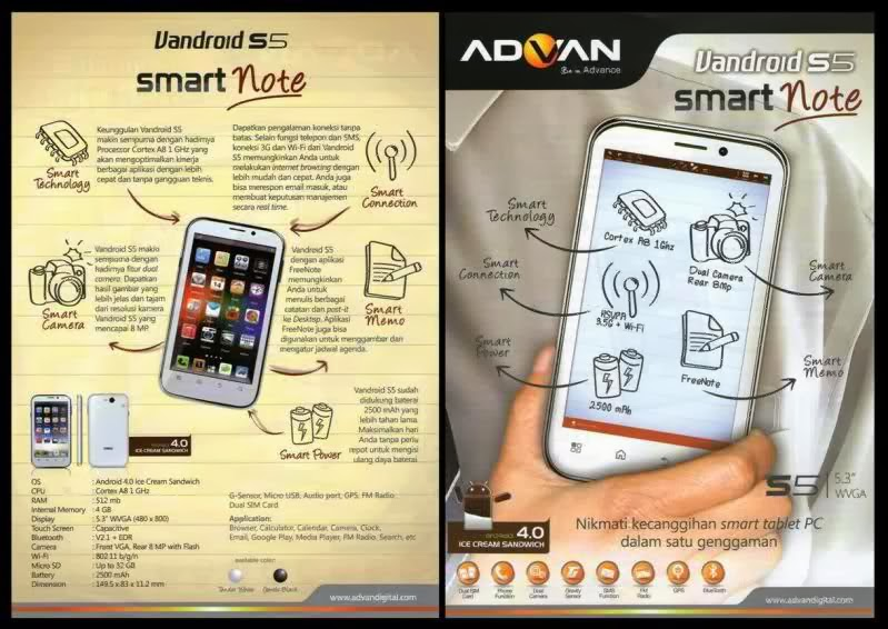 Harga Spesifikasi Advan Vandroid S5 Lintas Hp Dilihat Segi Desain