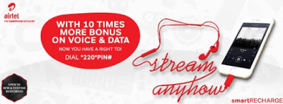 Smart Recharge Gives 10x More Bonus On Data and Calls- Airtel New Offer