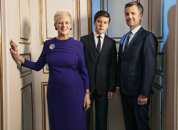 The Queen together with Crown Prince Frederik and Prince Christian. Crown Princess Mary and Princess Isabella