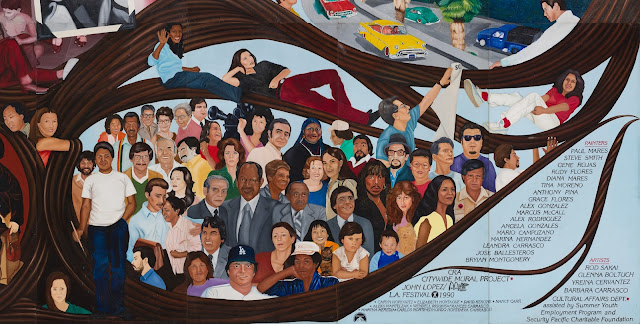 Mural detail, Barbara Carrasco, L.A. History: A Mexican Perspective (1981) Photo: Sean Meredith; LA Plaza de Cultura y Artes/CHS