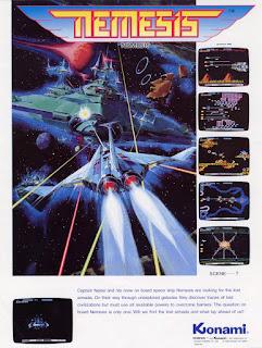 Cartel publicitario de Gradius (aka Nemesis) de Konami, 1985. El cartel muestra una futurista ilustración de una nave espacial