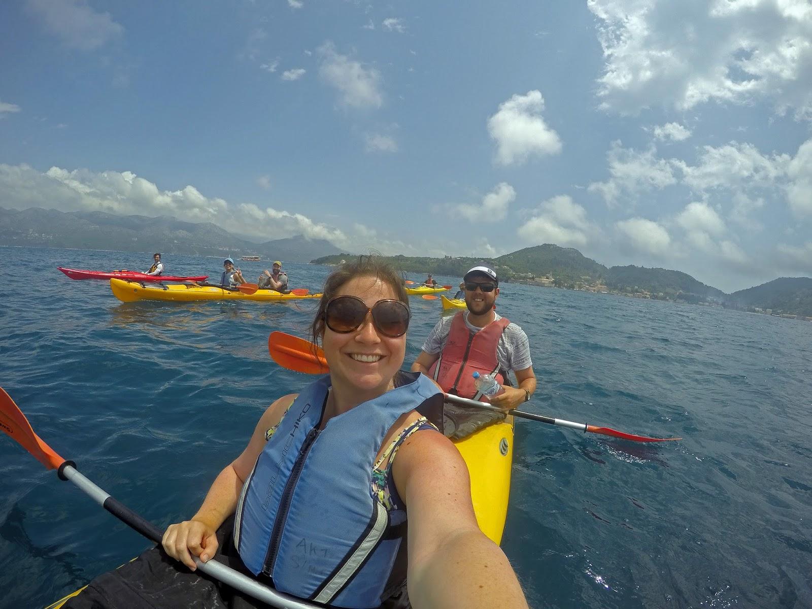 Couple Kayaking Elafiti Islands with Adriatic Kayak Tours