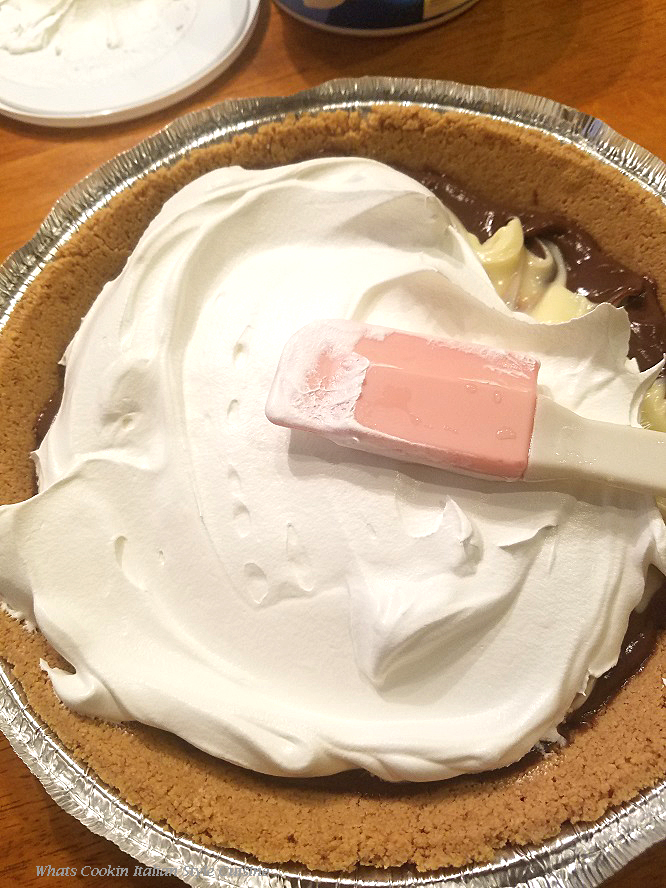 this is a marble pie topped with real whipped cream homemade