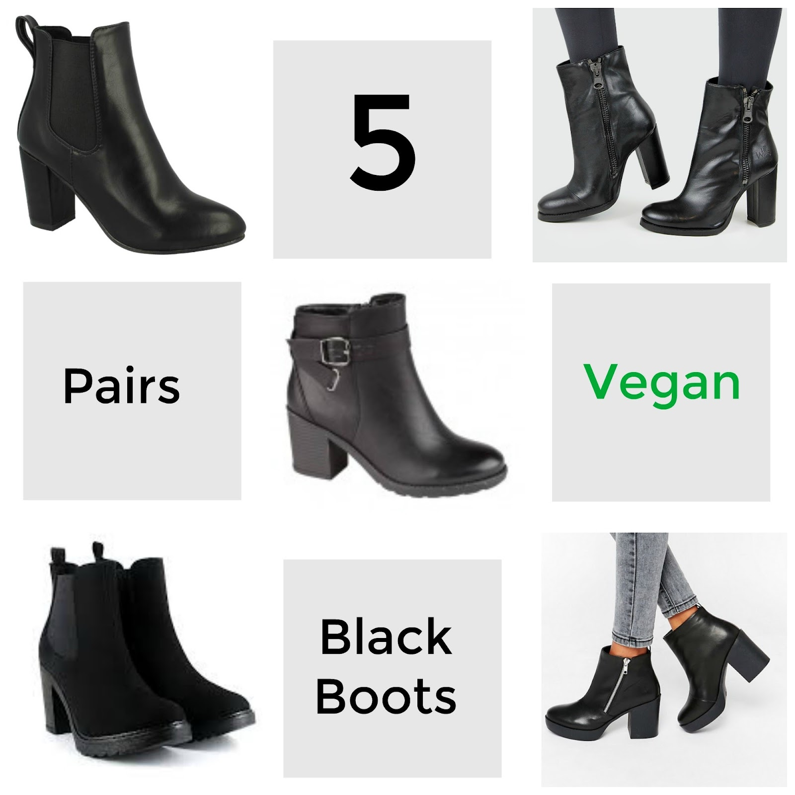 , Style: Five Pairs of Vegan Black Ankle Boots