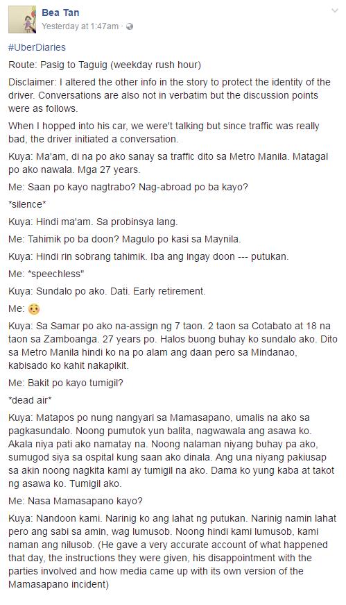 Bea Tan post Uber driver