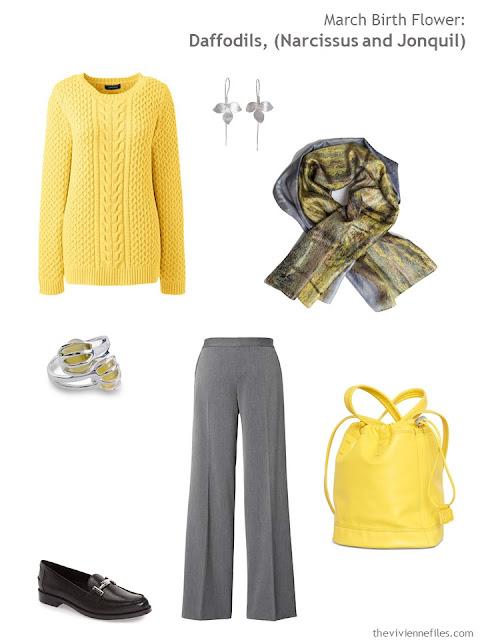 wearing daffodil yellow with grey