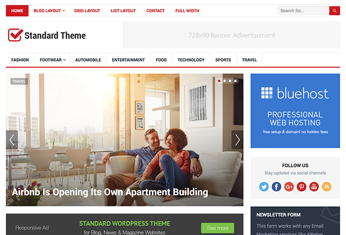 Download Standard WordPress Theme from happythemes