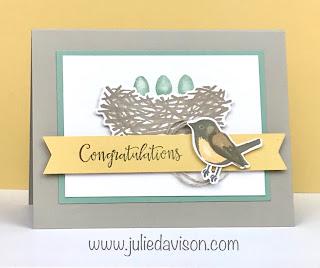 Stampin' Up! Birds & Branches Congratulations Card ~ 2020-2021 Annual Catalog ~ www.juliedavison.com