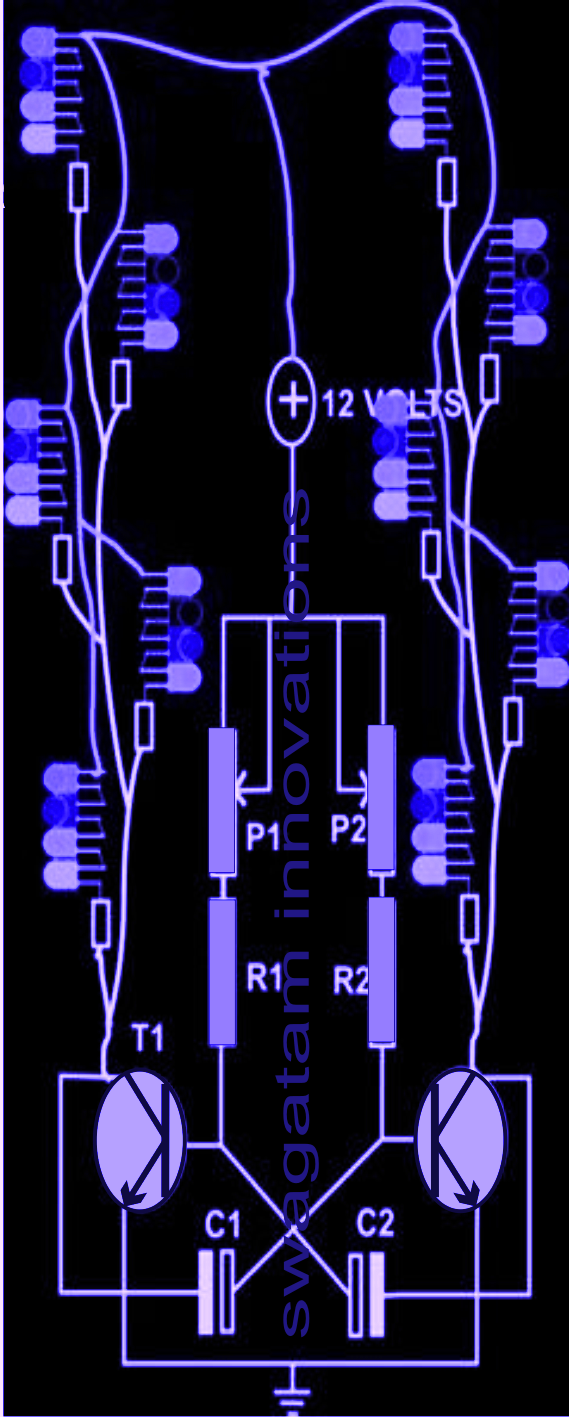 Simple Hobby Electronic Circuit Projects Homemade Astable Multivibrator Using Ic 555 Free The Transistors And Corresponding Parts Are Connected In Standard Mode Which Forces To Oscillate