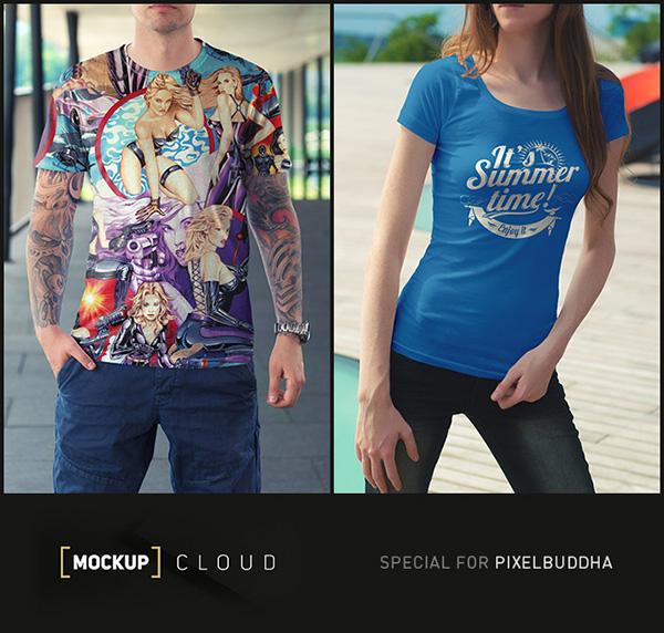Download T-shirt Mockup PSD Terbaru Gratis - T-Shirt Mock-Up Set