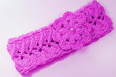 3 - Crochet IMAGEN Cinta para la cabeza rosa a crochet muy fácil y sencillo. MAJOVEL CROCHET