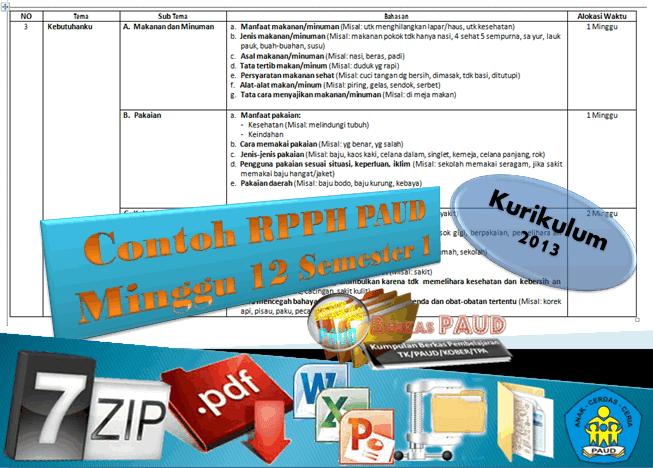 Download Berkas Contoh RPPH PAUD Minggu ke 12 Kurikulum 2013