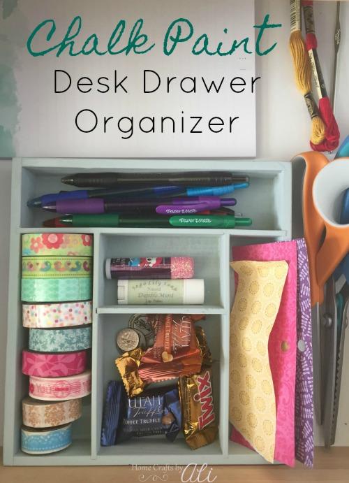 spray chalk paint desk drawer organizer tutorial