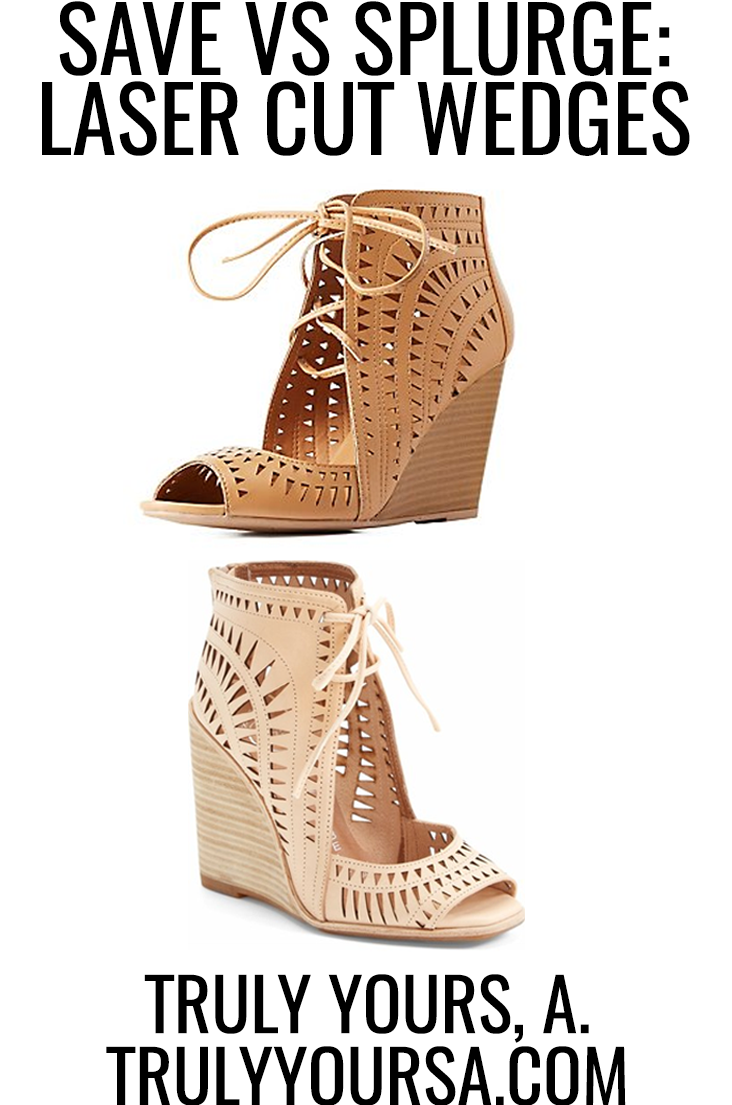"When I tell you guys I have been searching for a dupe to the infamous Jeffrey Campbell ""Rodillo-Hi"" wedge sandal, I really mean SEARCHING. I have scoured the internet high and low looking for a cheaper, for lack of a better term, but equally gorgeous pair of lace-up laser cut wedges and I finally hit the jackpot! It took me 2 seconds to select my size, add them to my cart, and hit checkout - that's how excited I was about this great find. I honestly couldn't keep these to myself so keep reading to check out where I found the Save version of my laser cut wedges!"