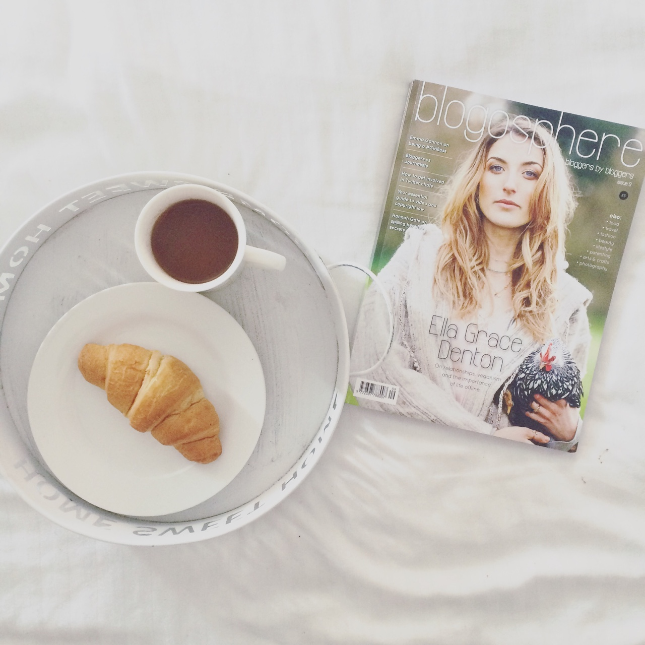 tea, croissant, magazine, tray, bed, bliss