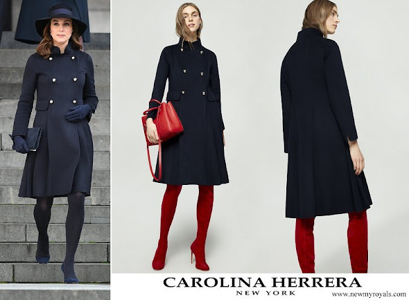Kate Middleton wore Carolina Herrera Double breasted double faced wool coat