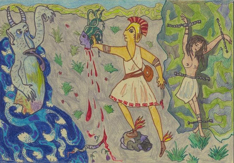 Картинка персея рисовать, змея анимация красивые