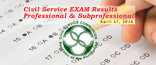 List of Passers: April 17, 2016 Civil Service Exam (CSE-PPT) Results - Professional & Subprofessional