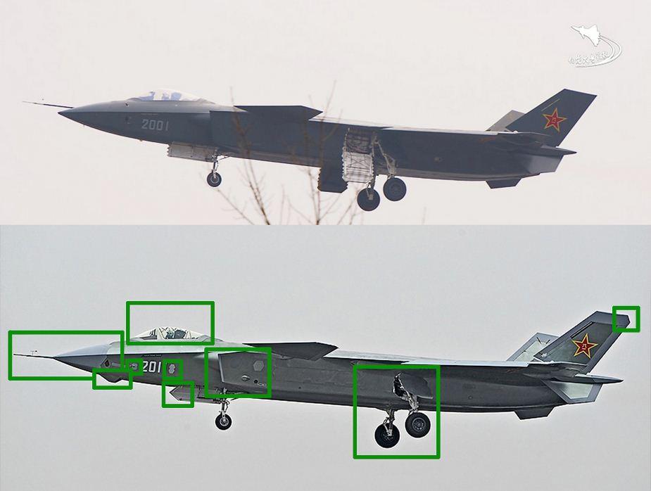 Prototipe pertama dan ketiga J-20