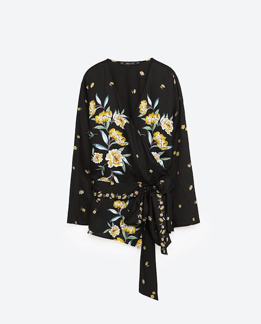 oriental black floral blouse zara