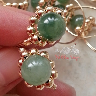 Sparkly Wire Wrap Rings with Jade by Wirebliss