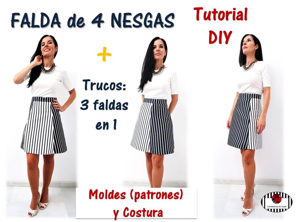 63d995f50 DIY. Cómo hacer una falda de cuatro nesgas y tres formas de ...