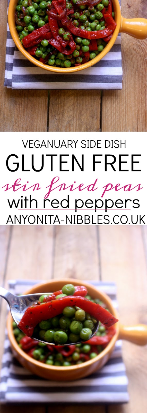 Vegan side dish of gluten-free stir-fried peas with red peppers